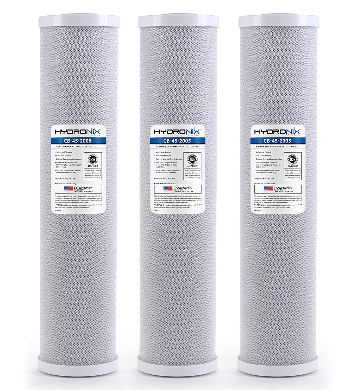 Hydronix HX CB 45 2005 3 Whole House Commercial Industrial Coconut Carbon Block Water Filter 4.5 x 20 5 Micron 3 Pack White
