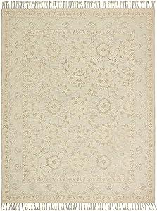 Amazon Brand – Stone & Beam Heidi Floral Farmhouse Wool Area Rug, 4 x 6 Foot, Beige