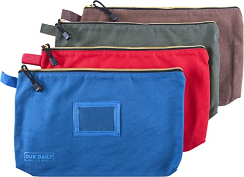 Canvas Zipper Tool Bags – 16 oz Heavy Duty Utility Bag – Water Resistant Multi-Purpose 13.7 inch X 8.5 inch Spacious Storage Pouches – 4 Pack Organizer Set – Tools, Cosmetics, Art and more.