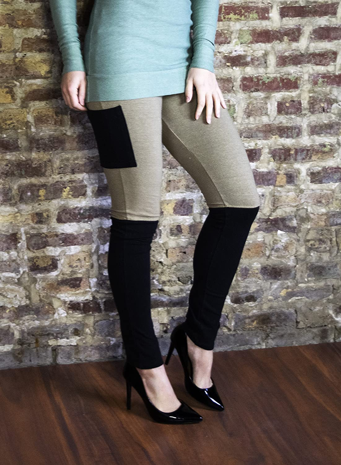 508d6d414652e Amazon.com: Leggings - Two-tone with Pocket - Hemp & Organic Cotton Stretch  Jersey: Handmade