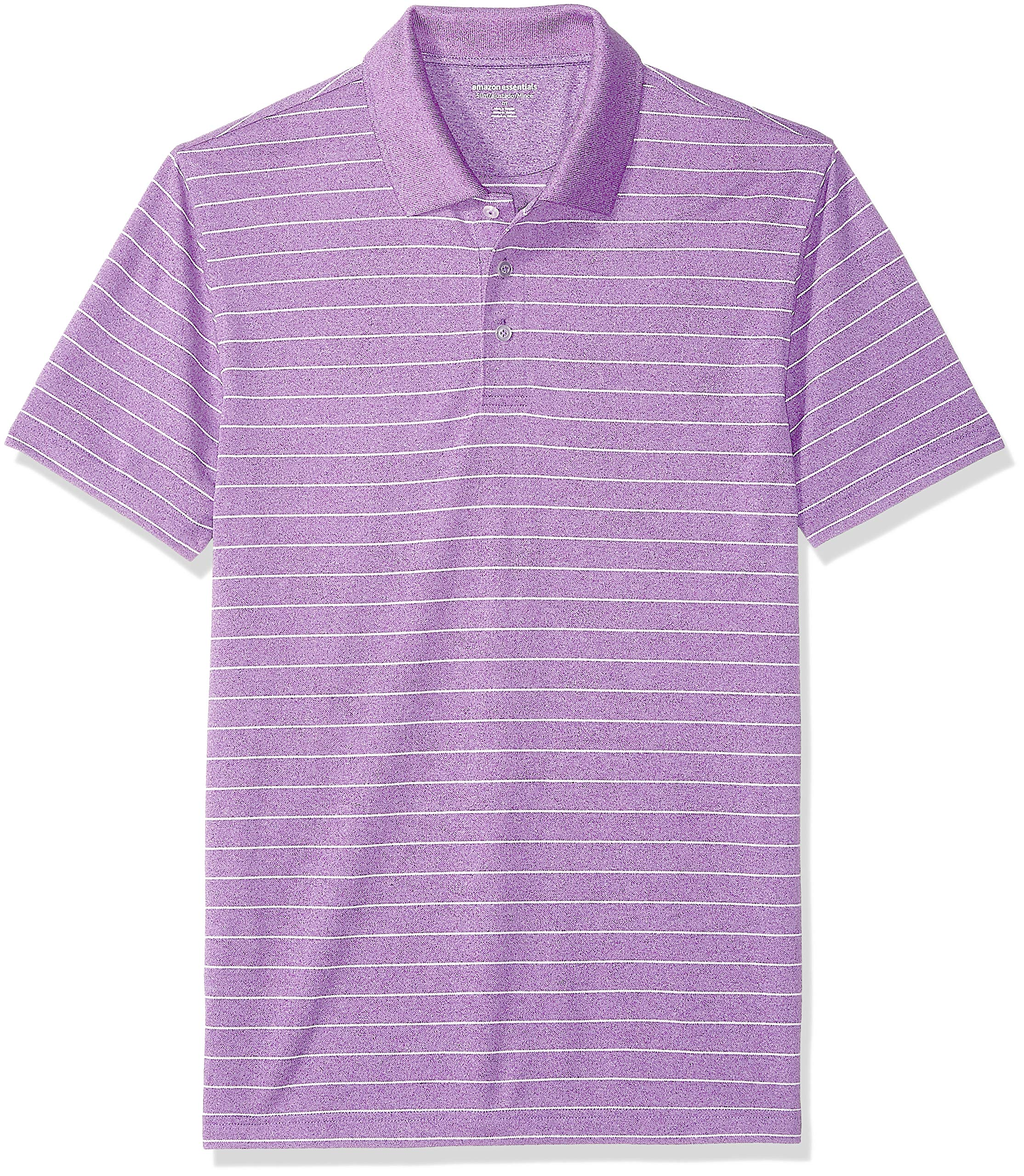 Amazon Essentials Men's Slim-Fit Quick-Dry Golf Polo Shirt, Purple Stripe, X-Small