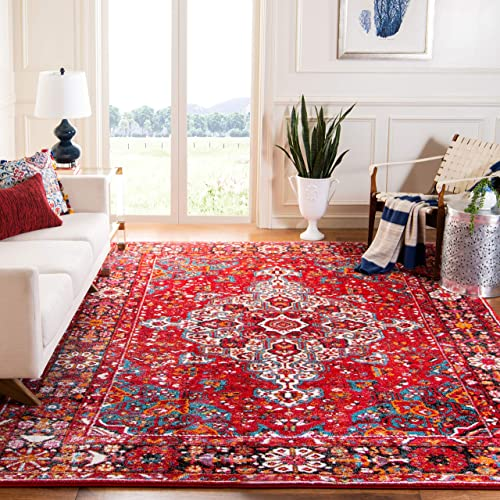 Safavieh Vintage Hamadan Collection VTH222A Red and Multi Area Rug 9' x 12'