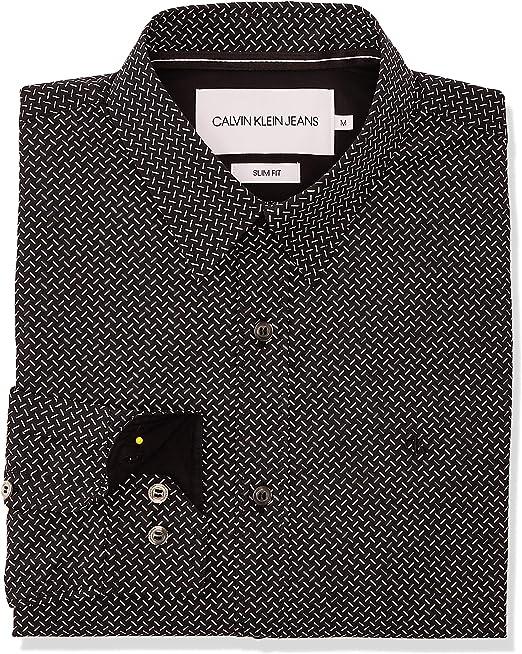 Calvin Klein J30J315309 - Camisa vaquera para hombre Nero/B.co XL: Amazon.es: Ropa y accesorios