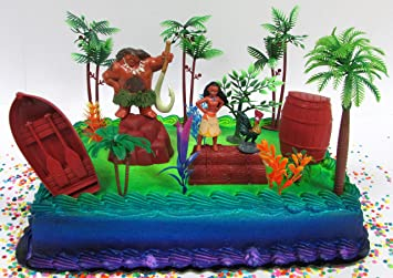 Amazoncom Moana Tropical Themed Birthday Cake Topper Set Featuring