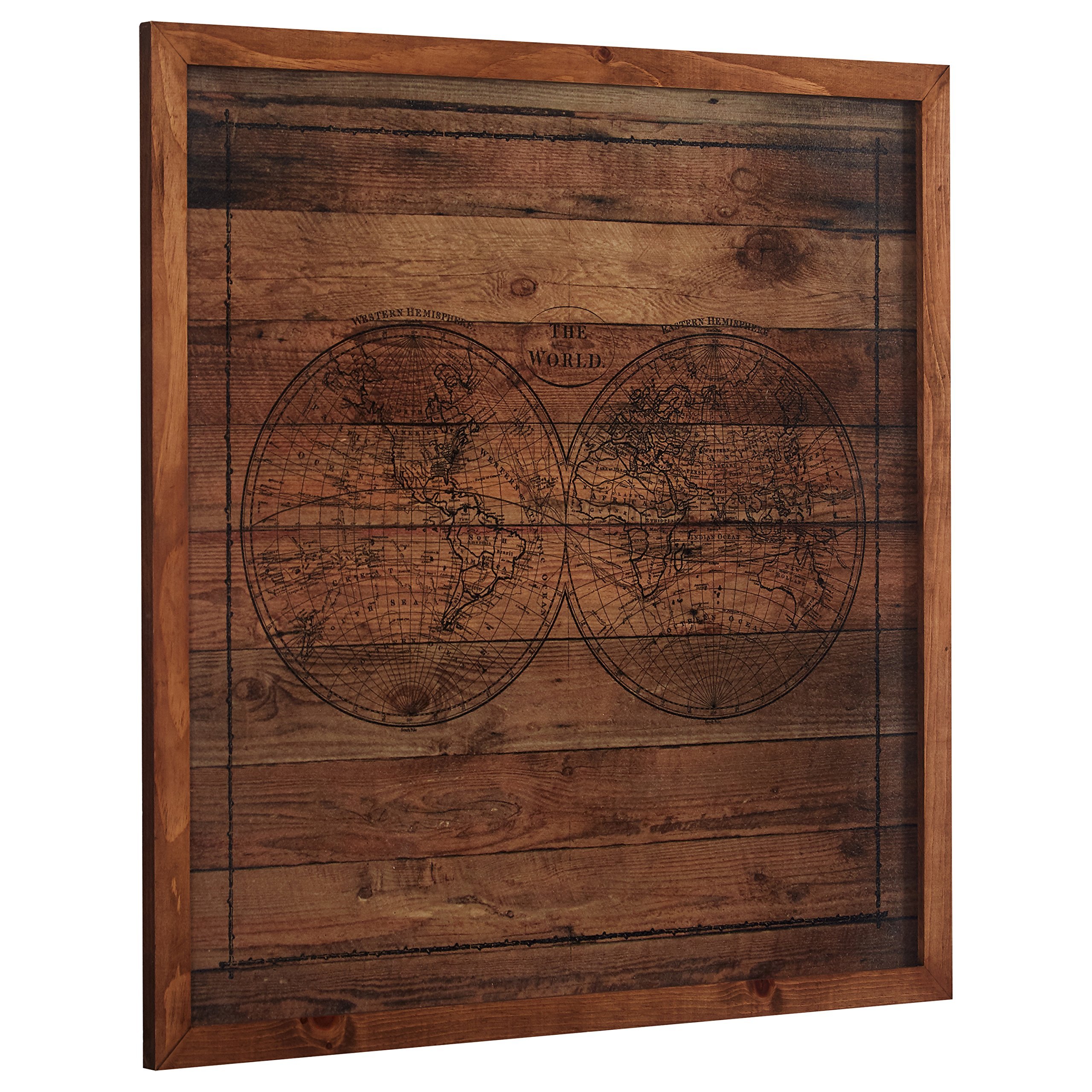 Modern Black Ink Global Map on Paper, on Wood, Brown Frame, 32'' x 32'' by Stone & Beam (Image #2)