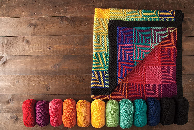 Rainbow Knit Picks Hue Shift Afghan Knitting Pattern Kit