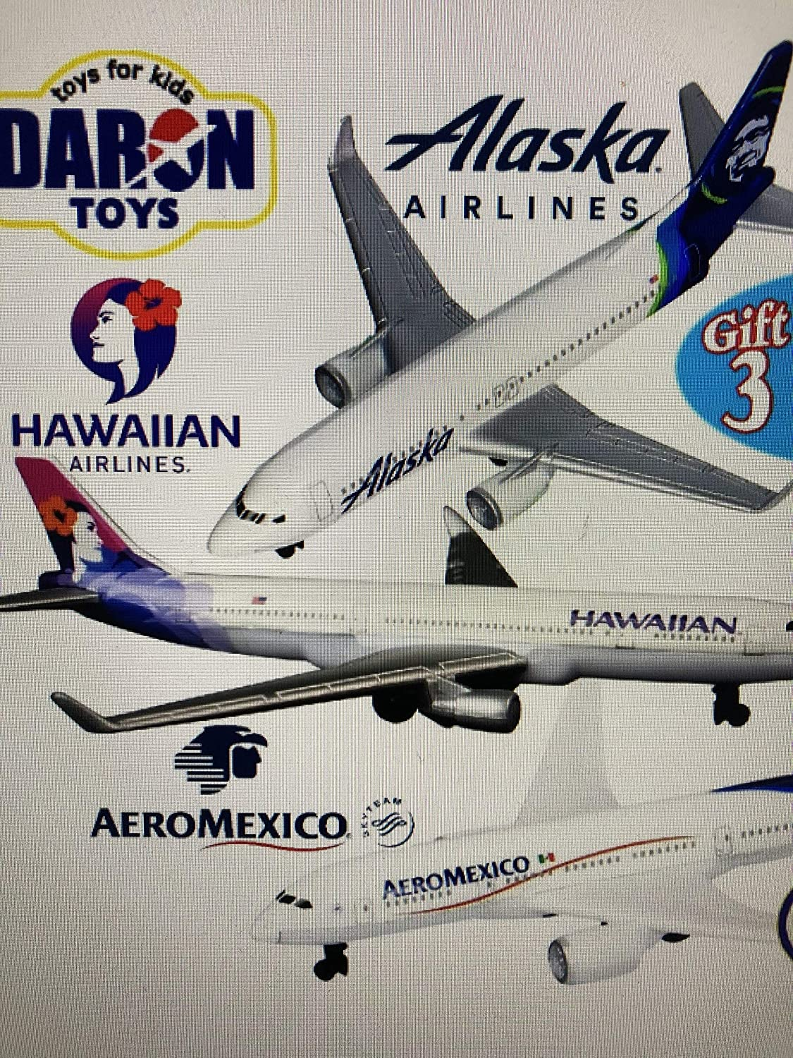 Amazon Com Daron Hawaiian Airlines Alaska Airlines Aeromexico Die Cast Planes Matty S Toy Stop Set Bundle 3 Pack Toys Games
