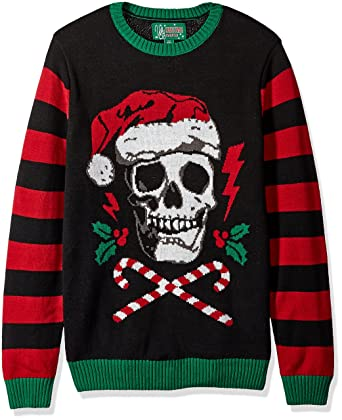 ugly christmas sweater mens light up santa scull sweater black