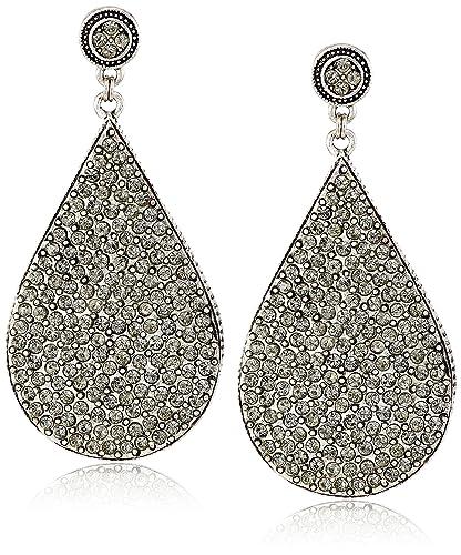 Azaara Crystal Black Swarovski Teardrop Earrings