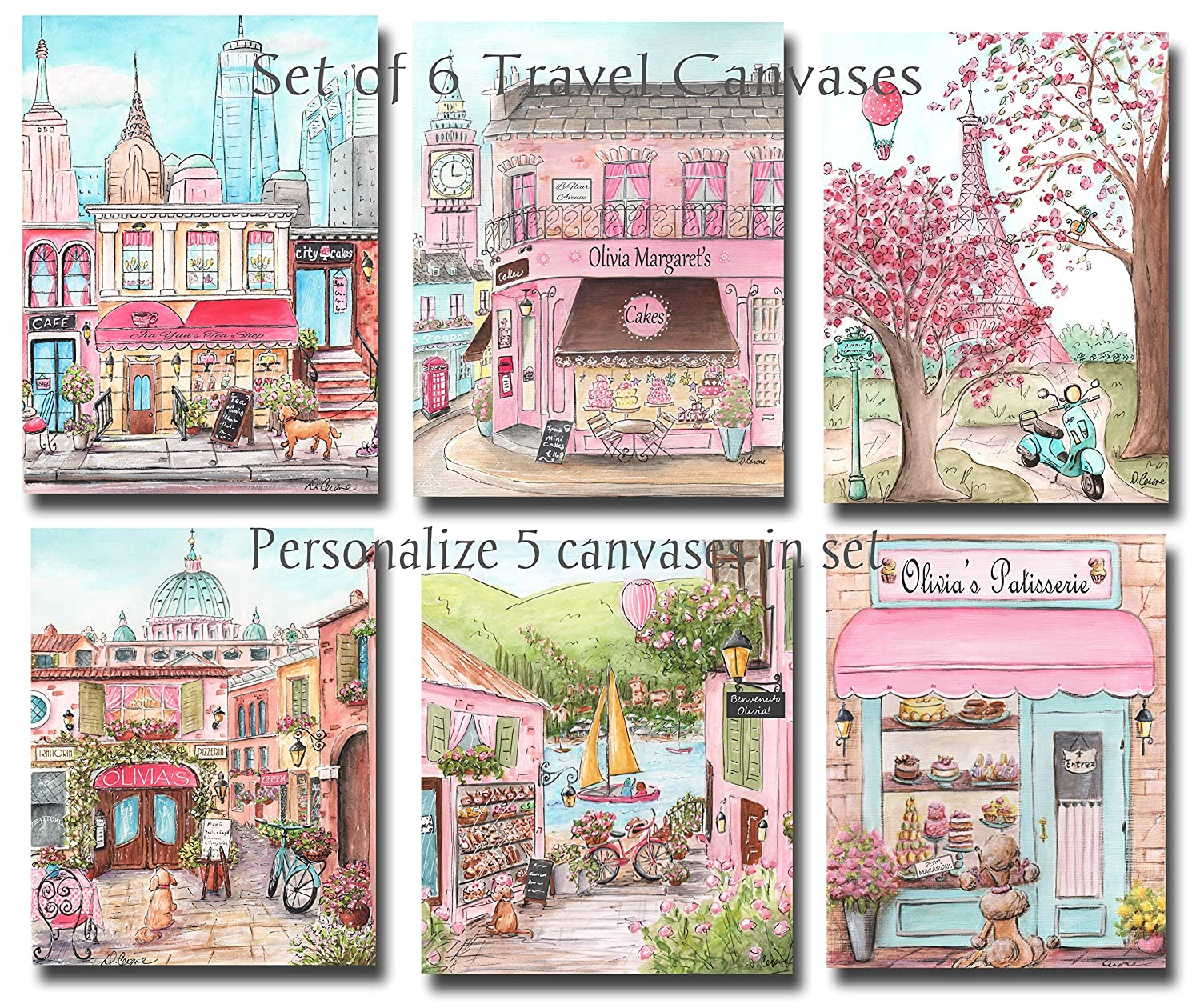 Travel Themed Nursery Canvases, Set Of 6 - 8x10, Personalized Set Of 6 - 8x10