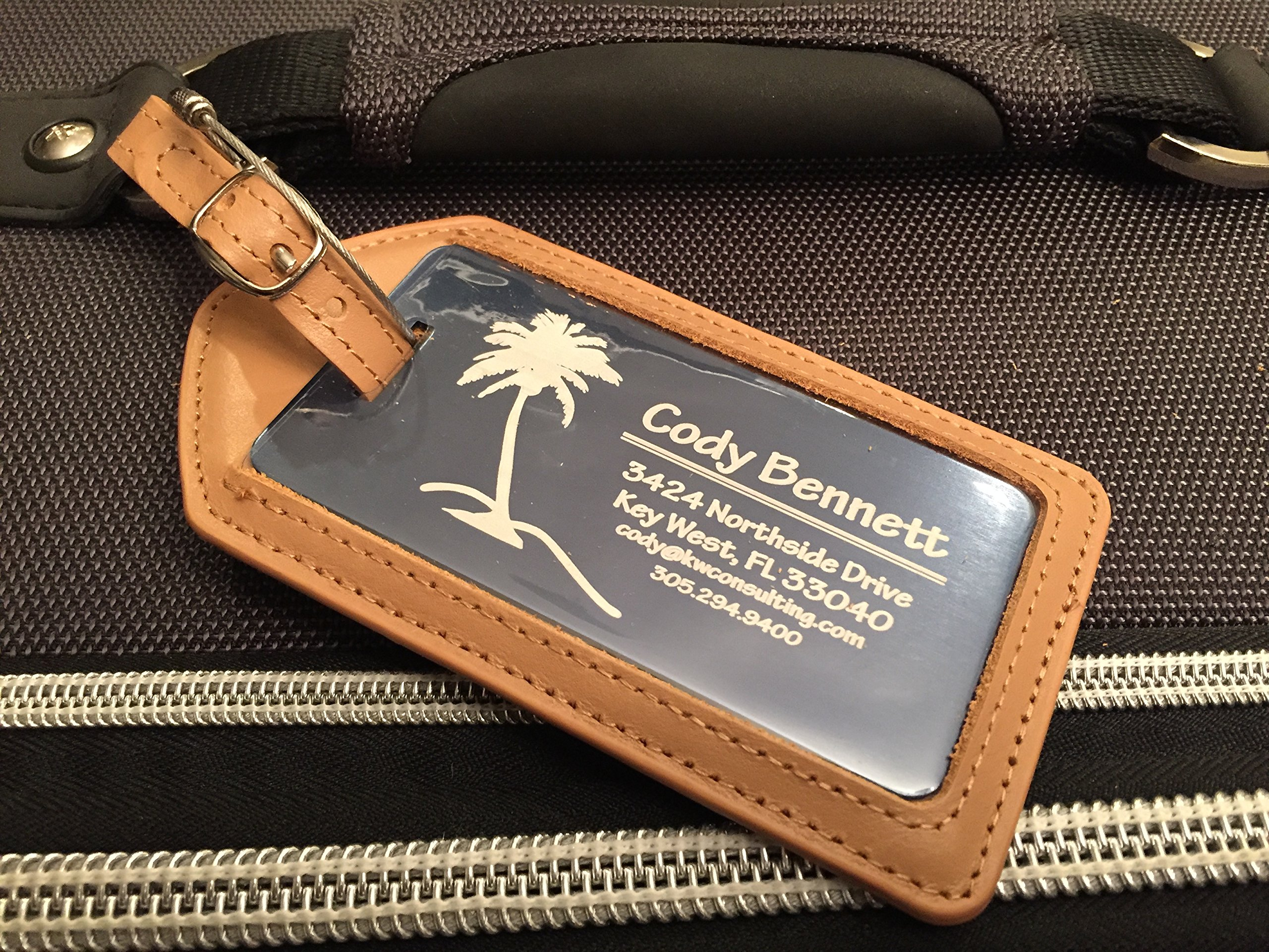 Qualtry Personalized Luggage Tags with Genuine Leather Case - Engraved Aluminum Luggage Tag, Suitcase Name Tags (Coral Leather Case) by Qualtry (Image #4)