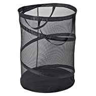 Smart Design Pop-Up Laundry Hamper w/ Easy Carry Handles - Deluxe Mesh Spiral Collapsible Design - for Clothes & Laundry - Home Organization (Holds 3 Loads) (18 x 24 Inch) [Black]