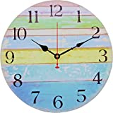 Old Oak Beach Wall Clock Decorative Large 14-Inch Battery Operated Nautical Theme Decor for Bathroom Living Room Kitchen with Colorful Blue Green Yellow Stripe