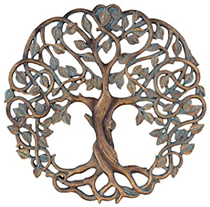 "Tree of Life Wall Plaque 11 5/8"" Decorative Celtic Garden Art Sculpture Copper Finish"