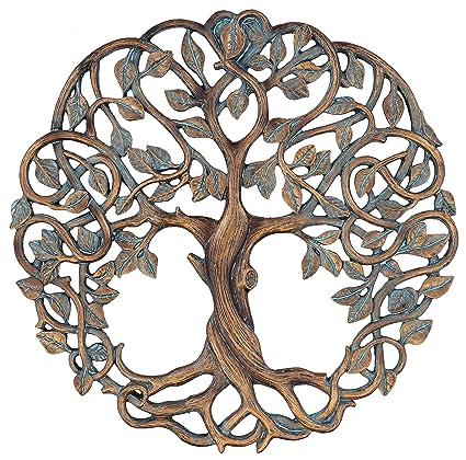 """a270cbd157 Tree of Life Wall Plaque 11 5/8"""" Decorative Celtic Garden Art  Sculpture Copper"""