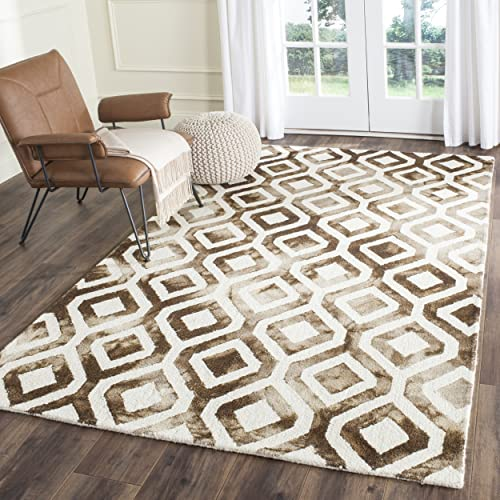 Safavieh Dip Dye Collection DDY679L Handmade Geometric Watercolor Ivory and Chocolate Wool Area Rug 5 x 8