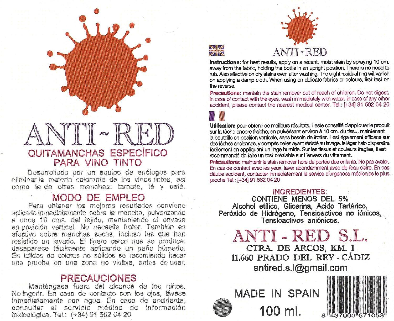 Anti Red Quitamanchas Para Vino Tinto Amazon Es Industria  ~ Como Quitar Las Manchas De Vino Tinto