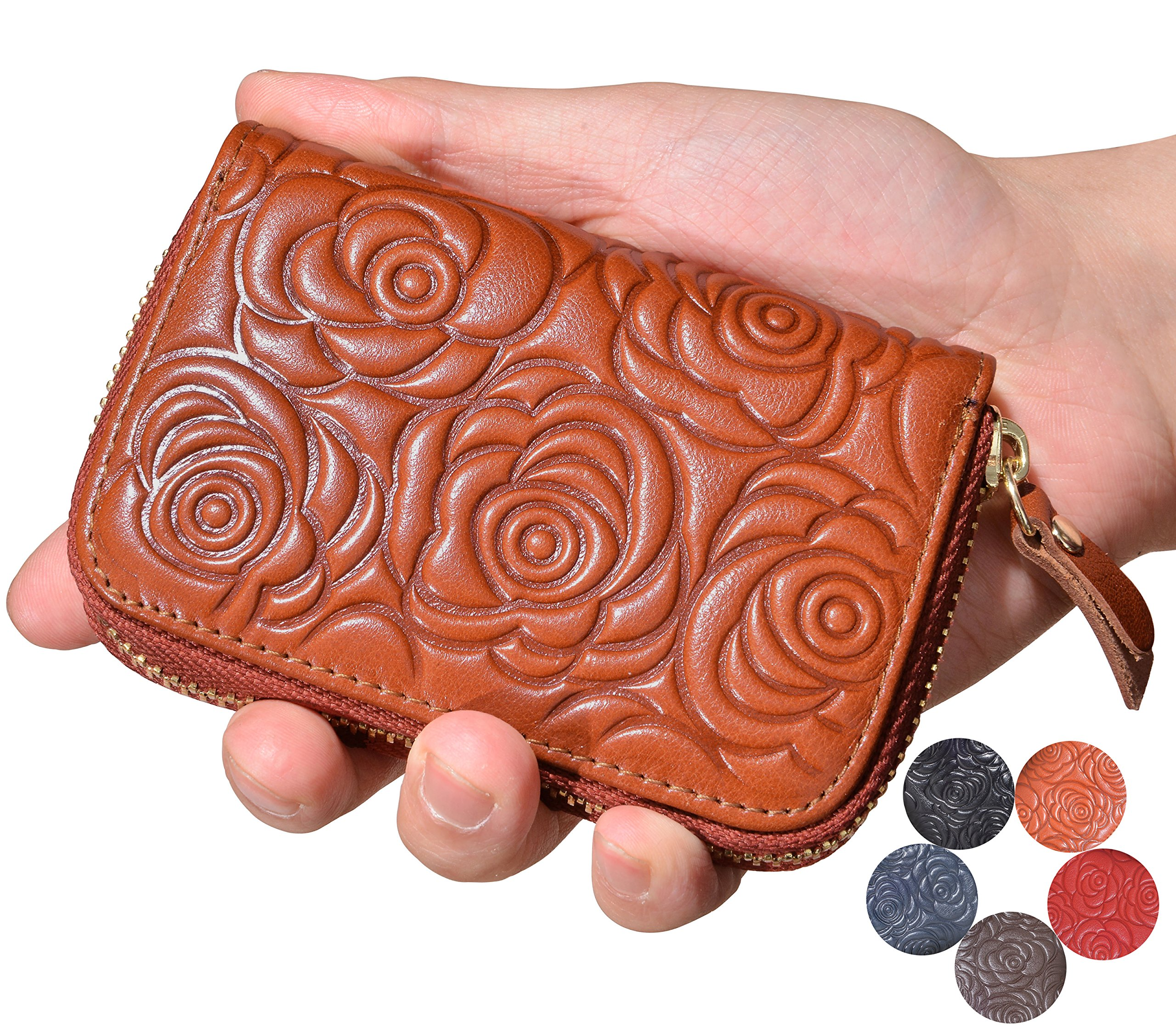 Beurlike Women's Floral Leather Credit Card Holder RFID Security Small Wallet (Orange)