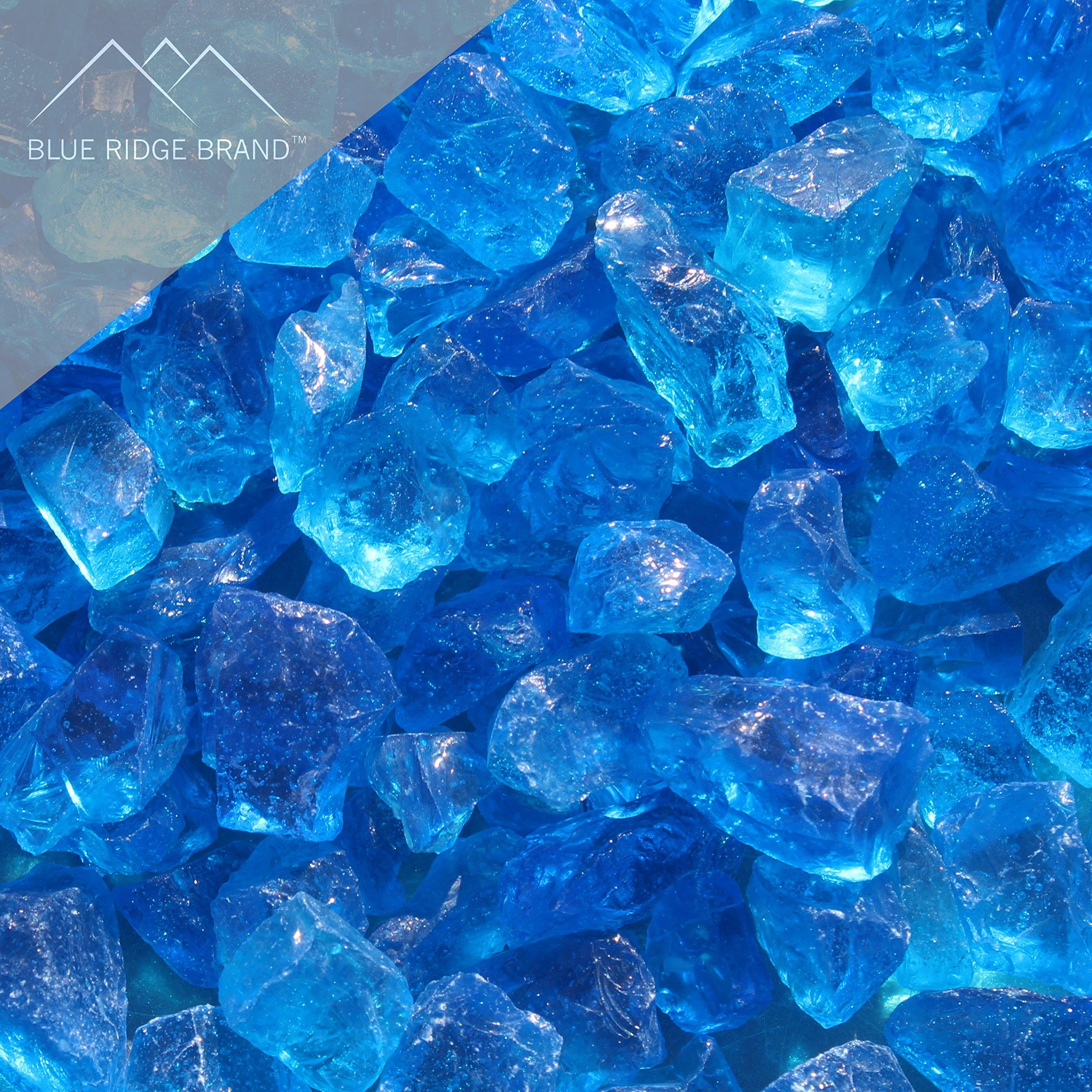 Blue Ridge Brand™ Light Blue Fire Glass - 50-Pound Professional Grade Fire Pit Glass - 1/2'' Fire Glass Bulk Pack - Glass Rock Contractor Pack