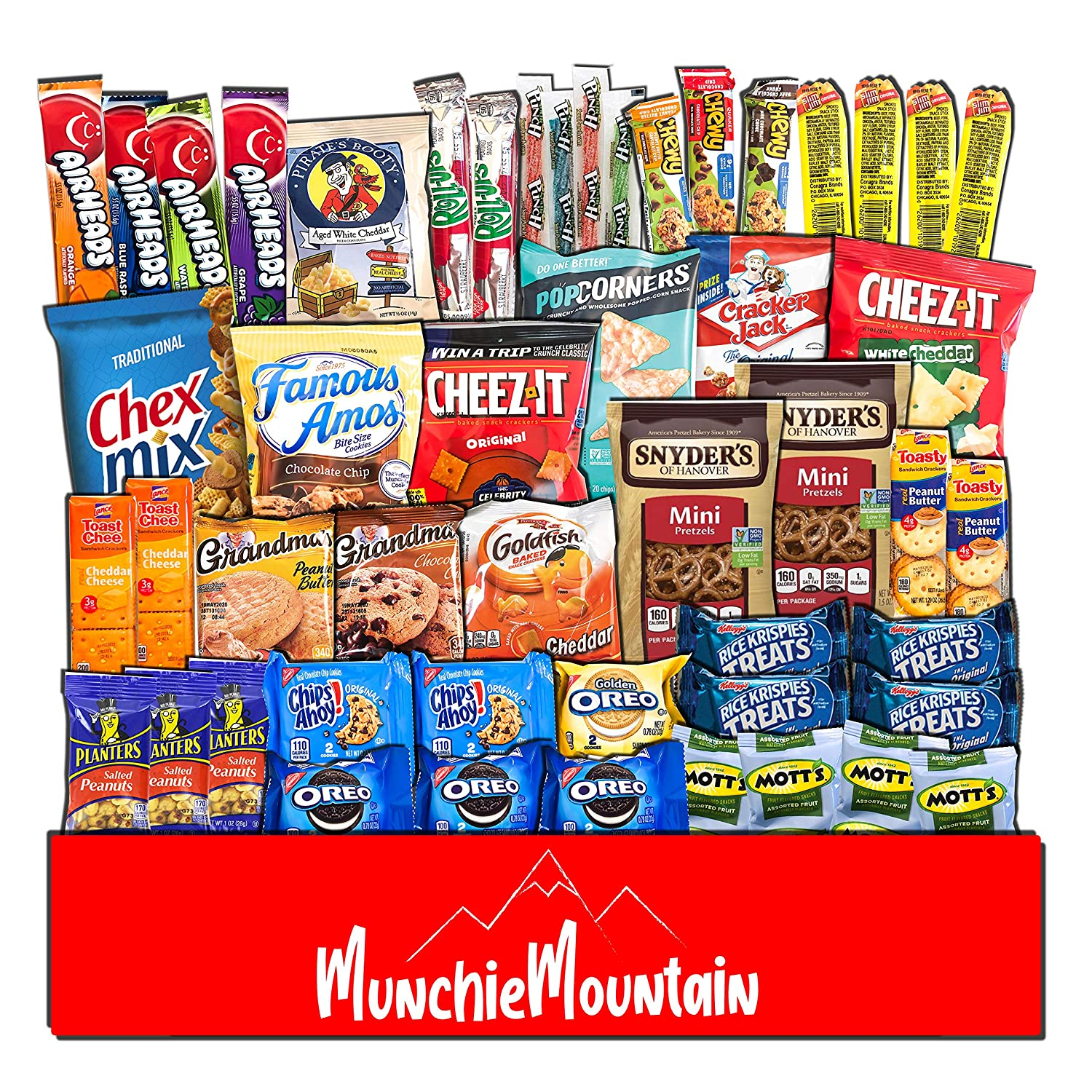 Munchie Mountain Ultimate 50-Count Snack Stock Pile and Care Package for College Students, Military Members, Friends, and Family