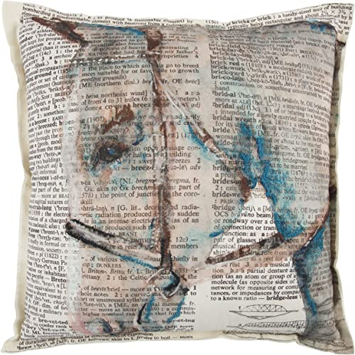 Rizzy Home Decorative Filled Pillow Mariah Parris by Horse Cotton Decorative Pillow, 20 x 20 , Cream