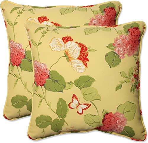 Pillow Perfect Outdoor Indoor Risa Lemonade Throw Pillows, 18.5 x 18.5 , Gold, 2 Pack