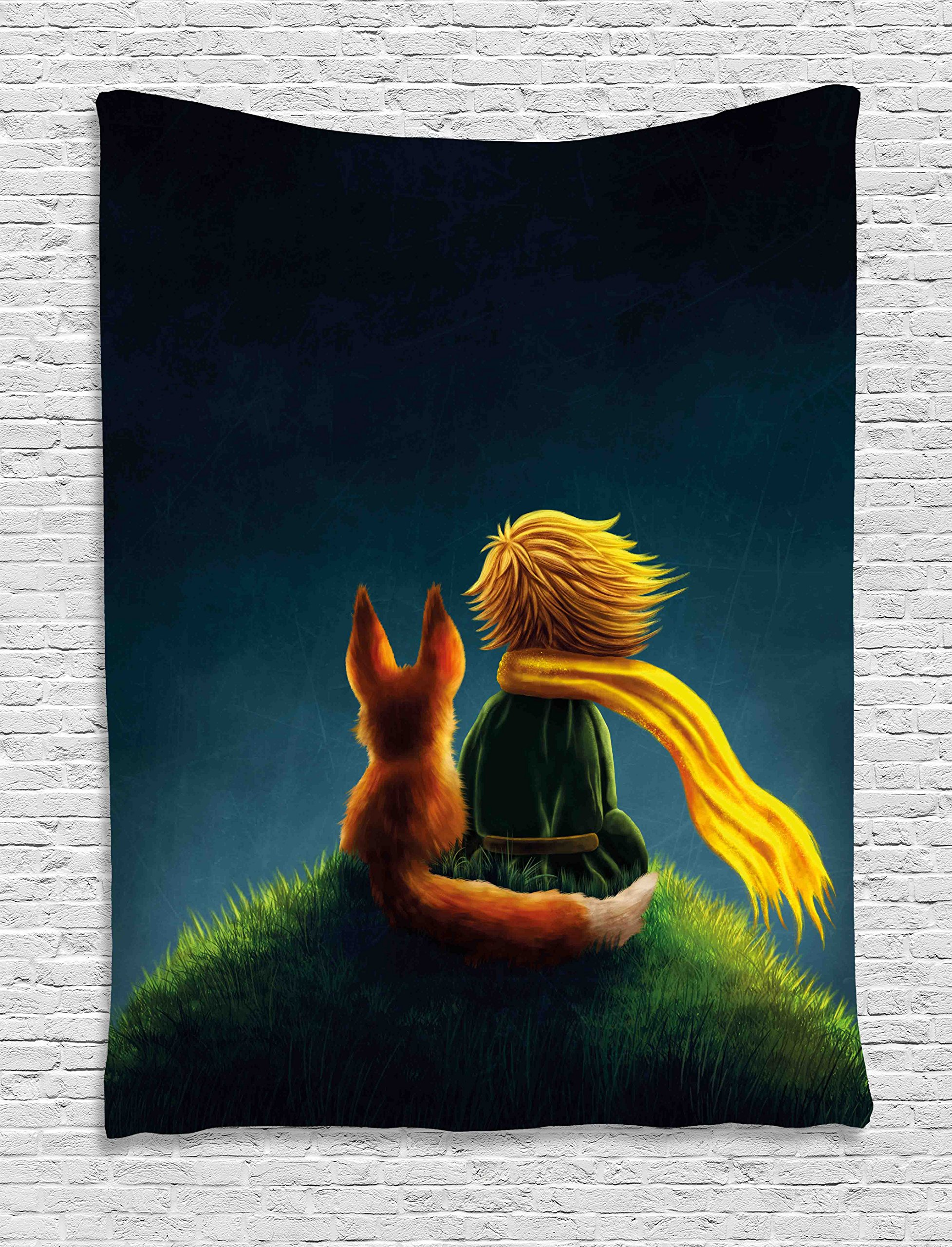 Ambesonne Kids Decor Tapestry by, Childrens Decor Little Prince and the Fox Looking at the Sky Pattern, Wall Hanging for Bedroom Living Room Dorm, 40WX60L Inches, Dark Blue Fern Green