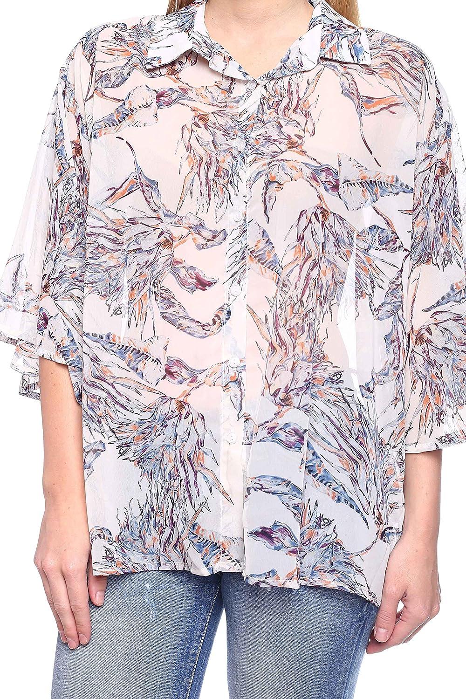 Rokoko Womens 3//4 Sleeve Button Down Printed Shirt Blouse
