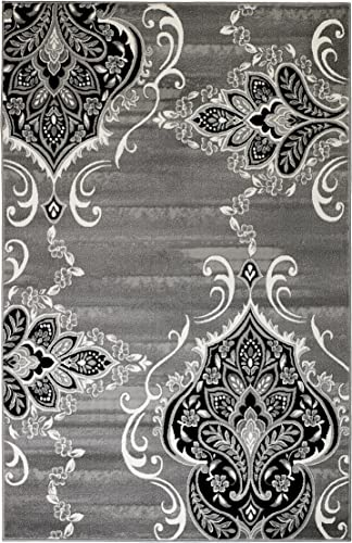 Summit New Elite 52 Royal Damask Boroque Vintage Look Area Rug Grey White Black Many Sizes Available , 4 x 5 Actual is 3 .8 x5