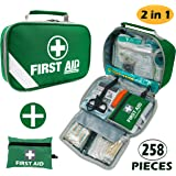 2-in-1 First Aid Kit (215 Piece) + Bonus 43 Piece Mini First Aid Kit - Includes Emergency Blanket, Instant Cold Pack,Whistle,Eyewash,CPR Face Mask Perfect for Home, Car, Camping, Office, Boat, and Traveling