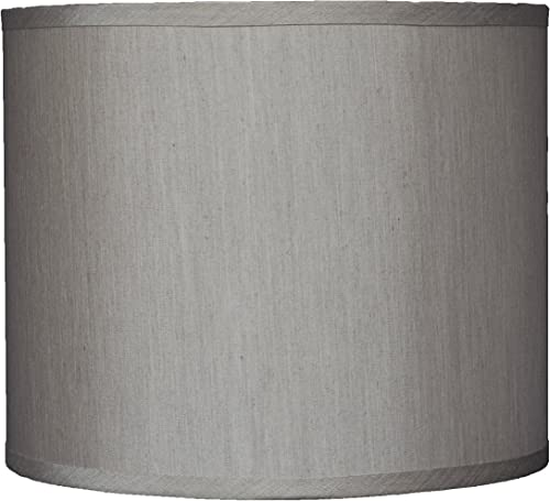 Urbanest Faux Silk Drum Lampshade, 12-inch by 12-inch by 10-inch, Champagne, Spider Fitter