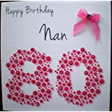 Happy Birthday Card - Nan 80th Pink Flowerbed - Handmade Card