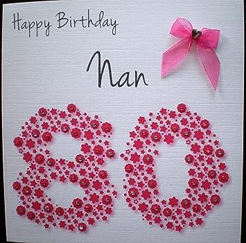 Geburtstagskarte Zum 80 Geburtstag Der Oma Handgemacht Amazon De