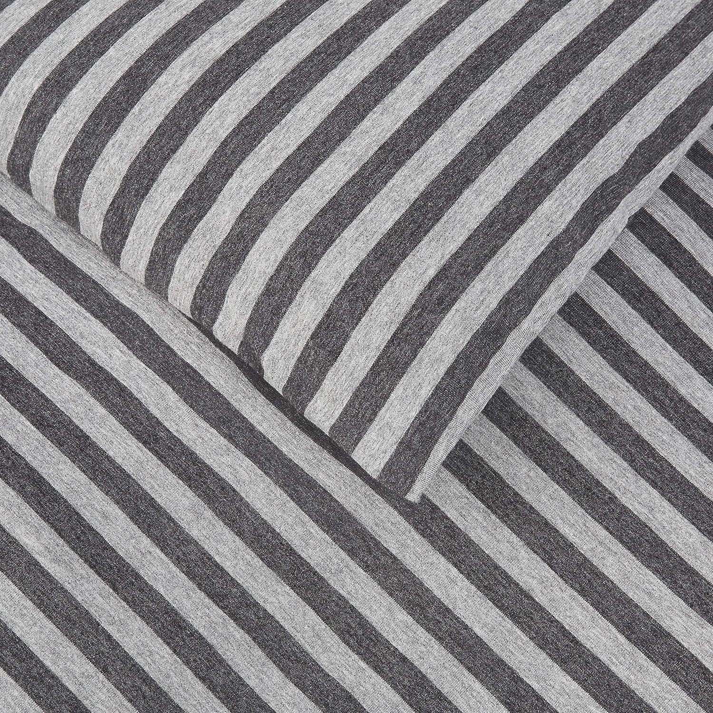 Bettw/äsche-Set Hellrot gestreift Basics Jersey 135 x 200 cm // 50 x 80 cm