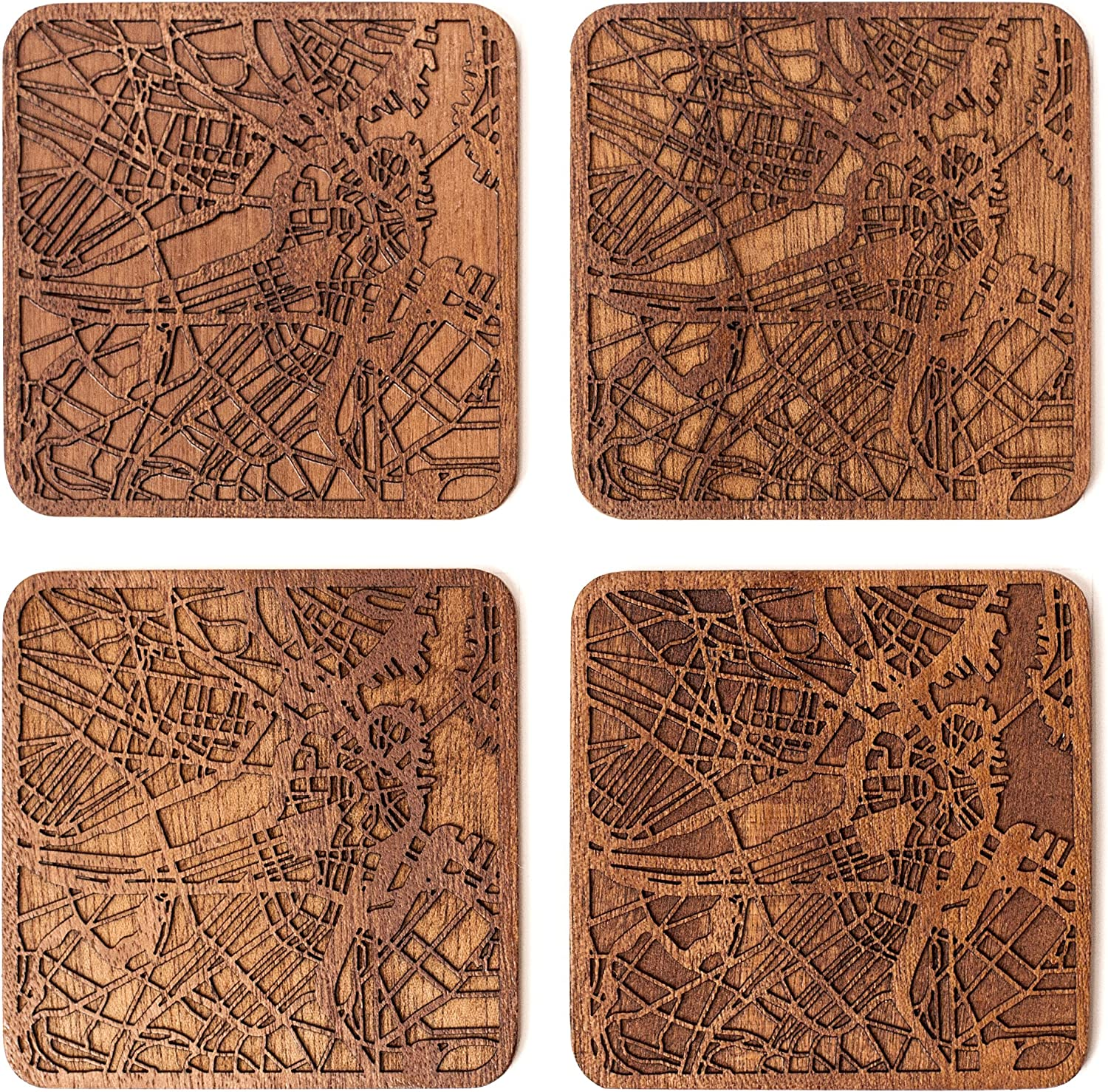 Boston Map Coaster by O3 Design Studio, Set Of 4, Sapele Wooden Coaster With City Map, Handmade
