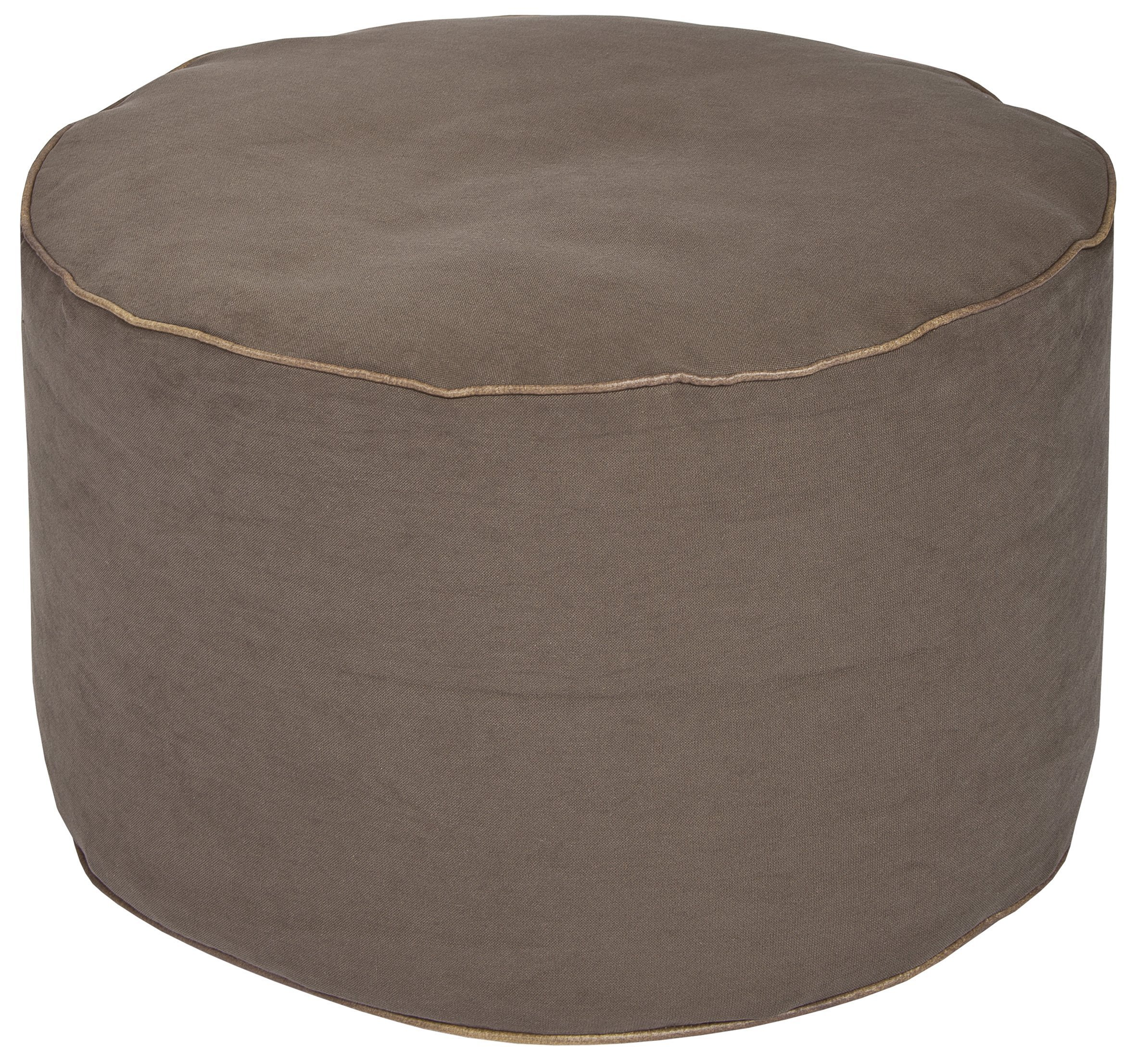 SITTING POINT Gouchee Home Jamie Pouf Collection Contemporary Polyester Upholstered Round Pouf/Ottoman, Brown