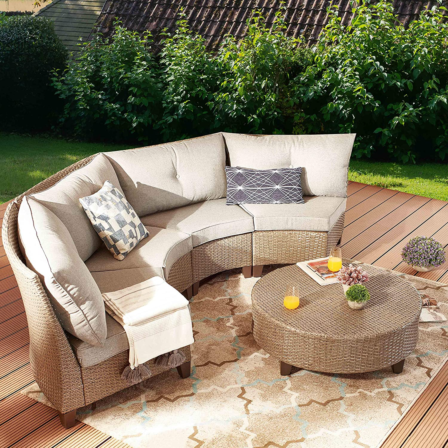 PatioFestival 5 Pieces Outdoor Patio Furniture Sofa Set,Half-Moon Patio Outdoor Sectional Sofa Set Manual Wicker Rattan Patio Conversation Set with Cushion and Coffee Table
