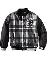 Southpole Big Boys' Plaid Varsity Jacket