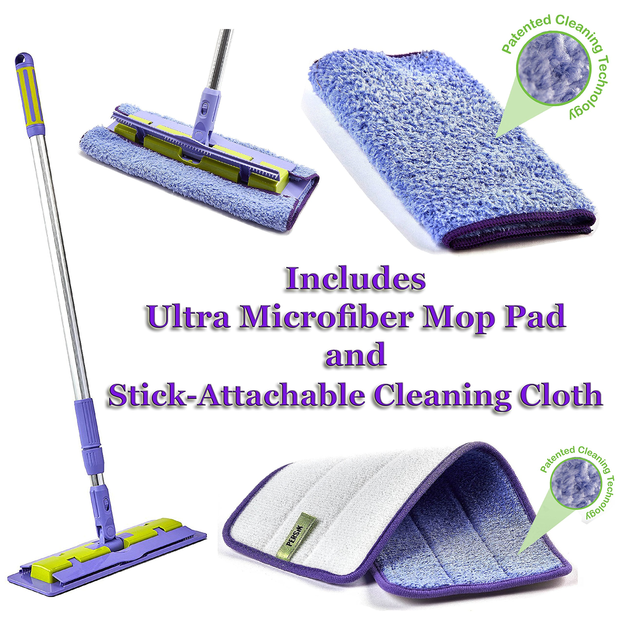 Pure-Sky Magic Deep Clean Floor Mop - JUST ADD Water No Detergents Needed - Ultra Microfiber Damp Mop Cleaner - Includes Telescopic Extension Pole - Light Weight, Strong Durable + Mop Pad and Towel