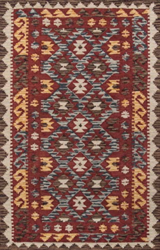 Momeni Rugs Tangier Collection, 100 Wool Hand Tufted Tip Sheared Transitional Area Rug, 9 6 x 13 6 , Red