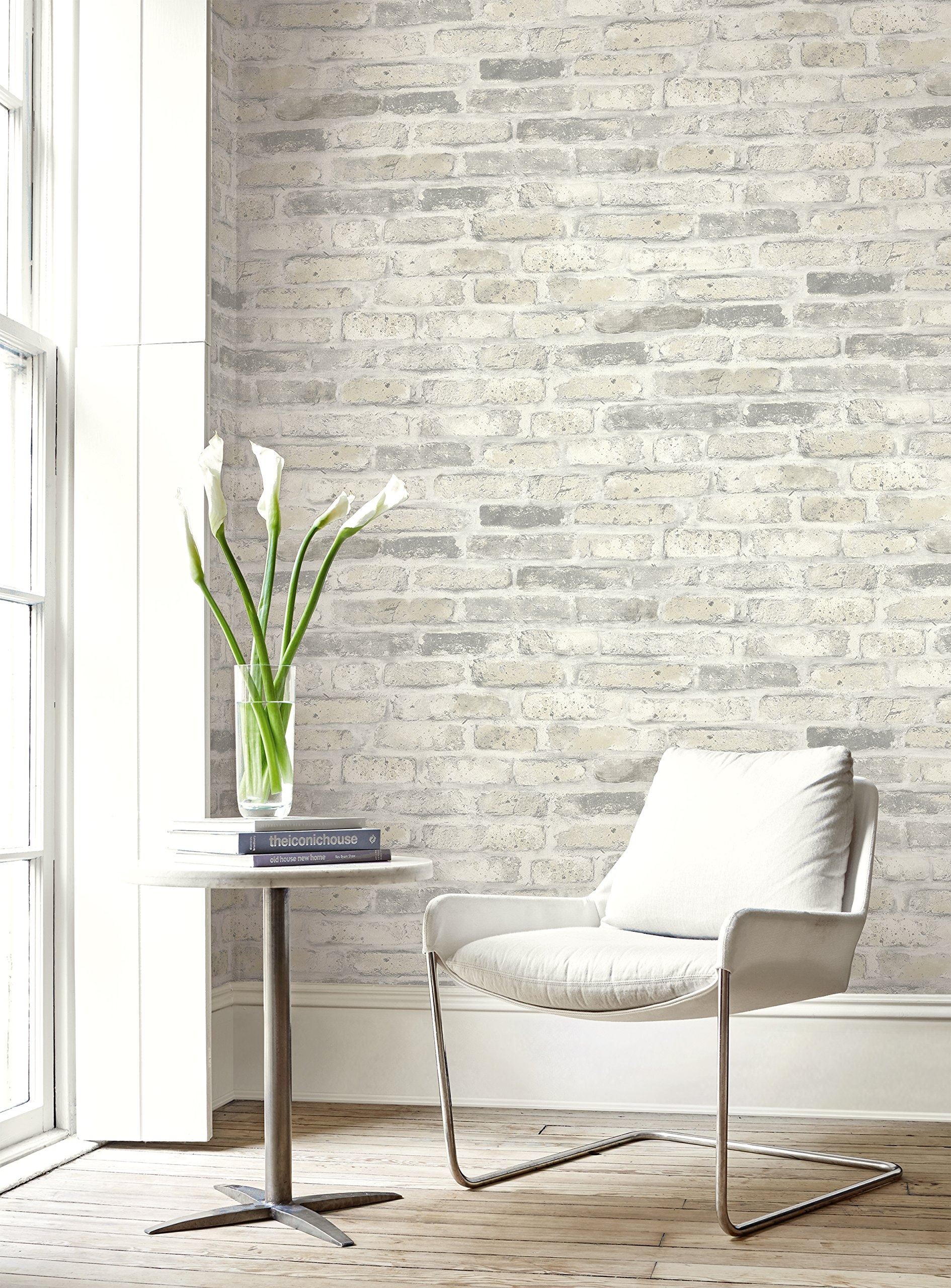 Faux Rustic Brick Wallpaper (Gray & White) by Wallquest