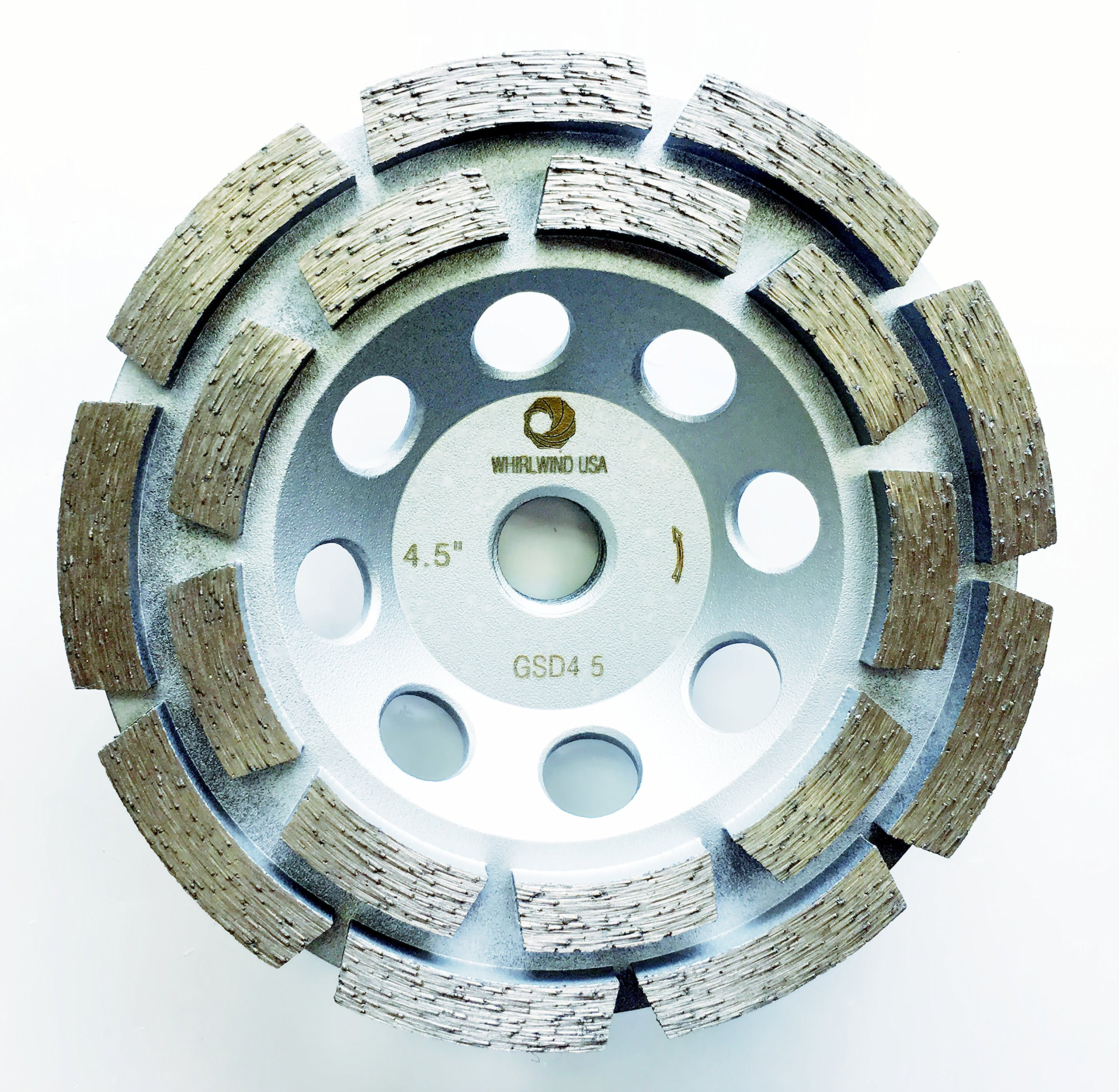 Whirlwind USA GSD 4.5 in. Diamond Grinding Cup Wheel Double Row Standard Higher Diamond Concentration with 5/8-Inch 11mm Thread (4.5''-S)