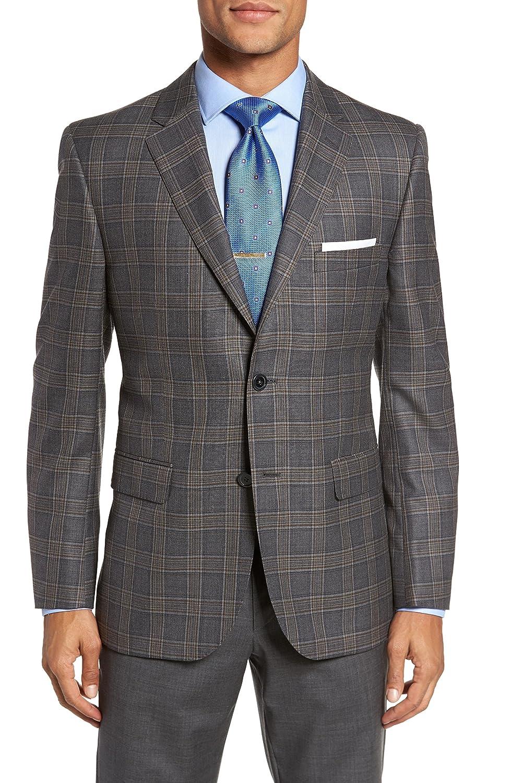 ジェイビー ブリッチズ アウター コート JB Britches Classic Fit Plaid Wool Sport Grey [並行輸入品] B079YQRRSQ  38_R