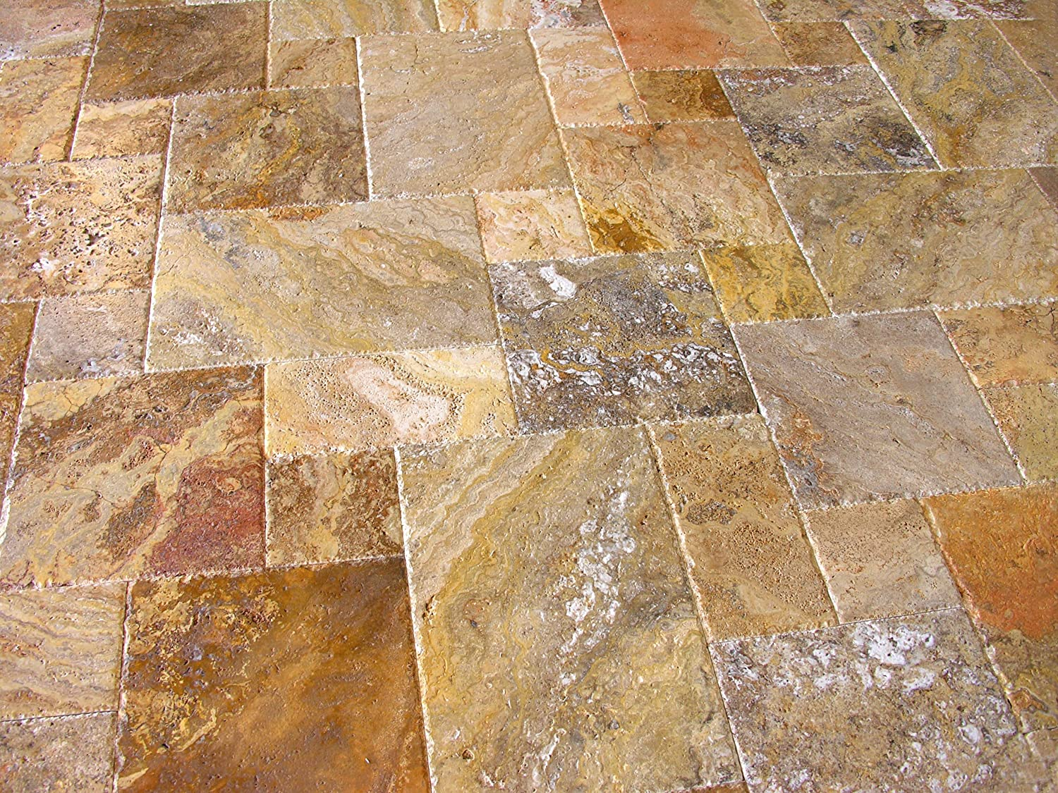 Scabos Travertine Versailles / Ashlar Pattern Tiles, Unfilled / Brushed U0026  Chiseled (Small Sample)   Ceramic Floor Tiles   Amazon.com