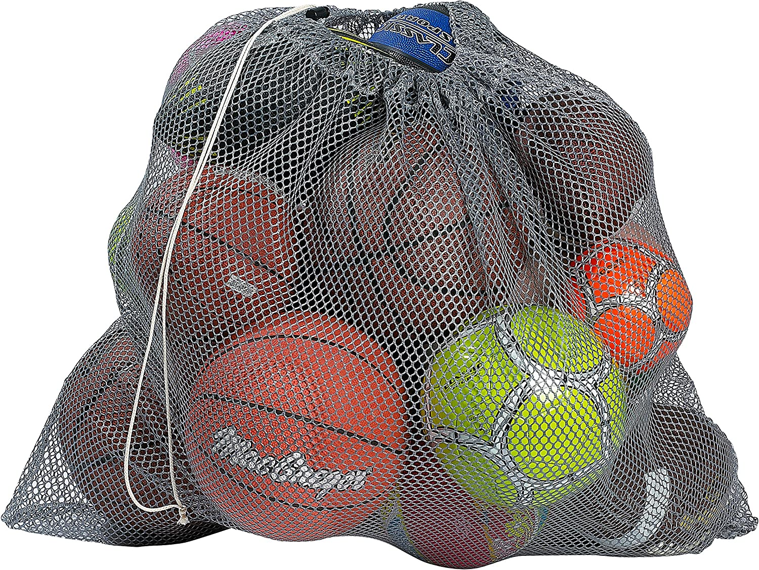 "Mesh Equipment Bag - 32"" x 36"" and 24"" x 36"" - Adjustable, sliding drawstring cord closure. Perfect mesh bag for parent or coach, making it easy to transport and keeping your sporting gear organized."