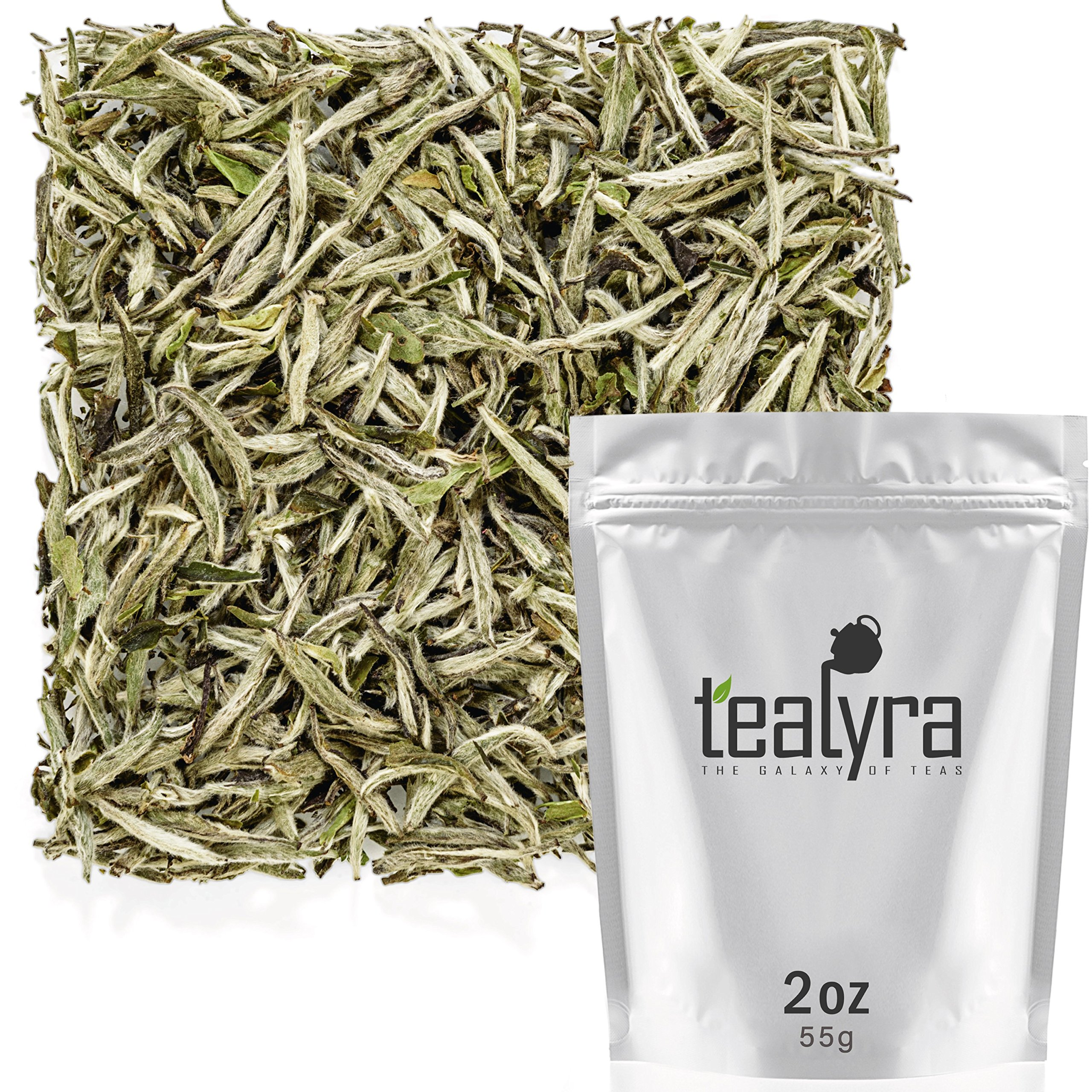 Tealyra - Premium White Silver Needle Tea - Bai Hao Yinzhen - Organically Grown in Fujian China - Superior Chinese Silver Tip White Tea - Loose Leaf Tea - Caffeine Level Low - 55g (2-ounce) by Tealyra