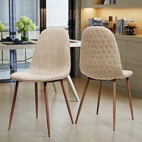 Camden Mid Century Wheat Fabric Dining Chairs With Dark Walnut Wood  Finished Legs (Set Of