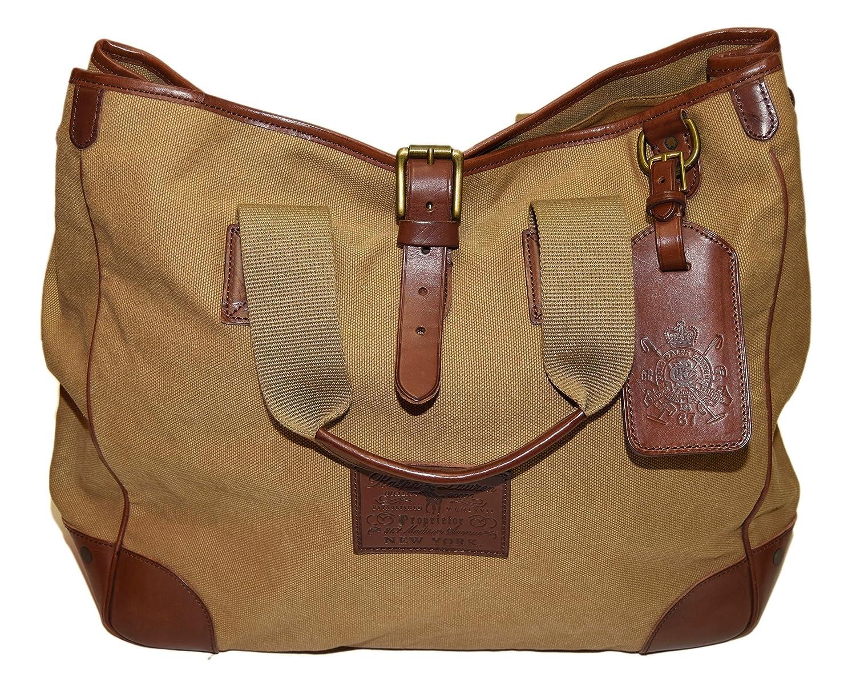 a37dc9282b Amazon.com  Polo Ralph Lauren Proprieter Canvas Leather Tote Carryall Bag  Khaki Beige Brown  Shoes