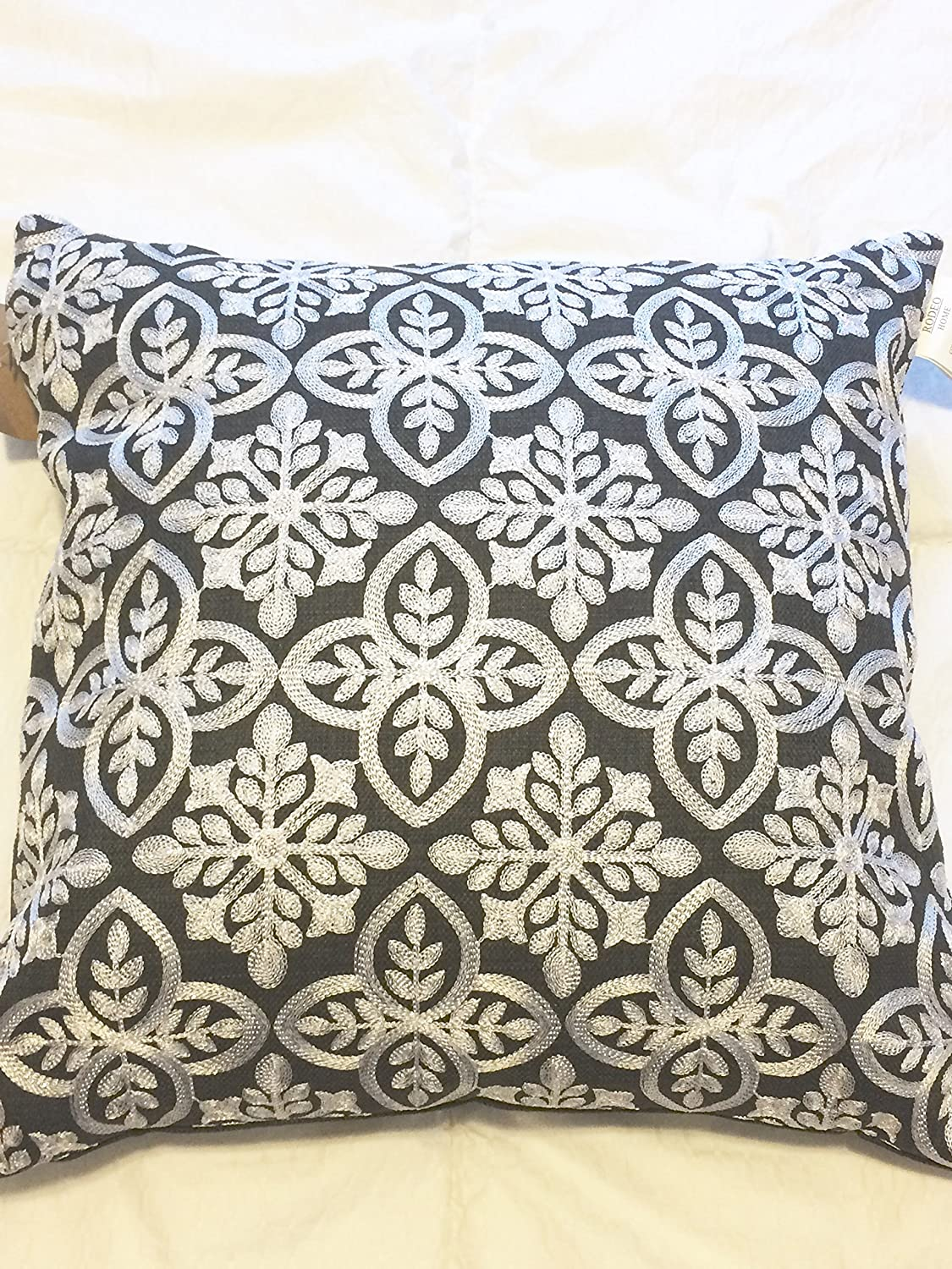Amazon.com: Rodeo Home Embroidered Silver Snowflake on Black Throw ...