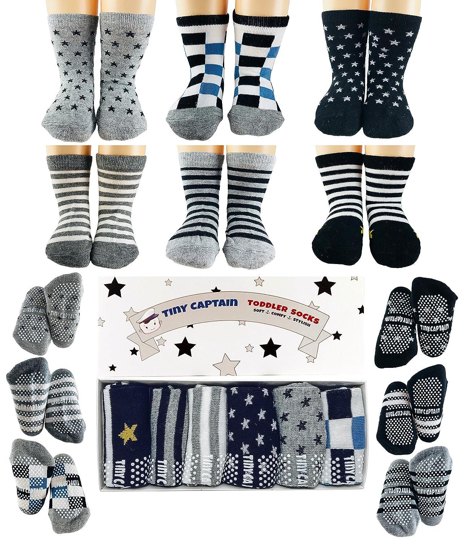 Toddler Boy Non Slip Socks, Best Gift for 1-3 Year Old Boys Baby Boy Gifts Anti Slip Non Skid Grip ABS Socks Birthday Gift Set by Tiny Captain Tiny Captain LLC